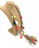 2016 New Boho Jewelry Leather Fringe Tassel Pendents Bohemia Long Necklaces Silk Tassel Charm Feather Charm
