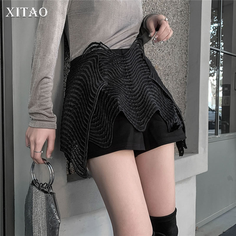 [XITAO] Korea Fashion Female 2019 Spring Summer New Loose   Shorts   Causal Solid Color Patchwork Female Wide Leg   Shorts   WBB2417