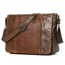 Fashion Genuine Leather Men's Messenger Bag Cheap Vintage Shoulder Sling Bag 7338