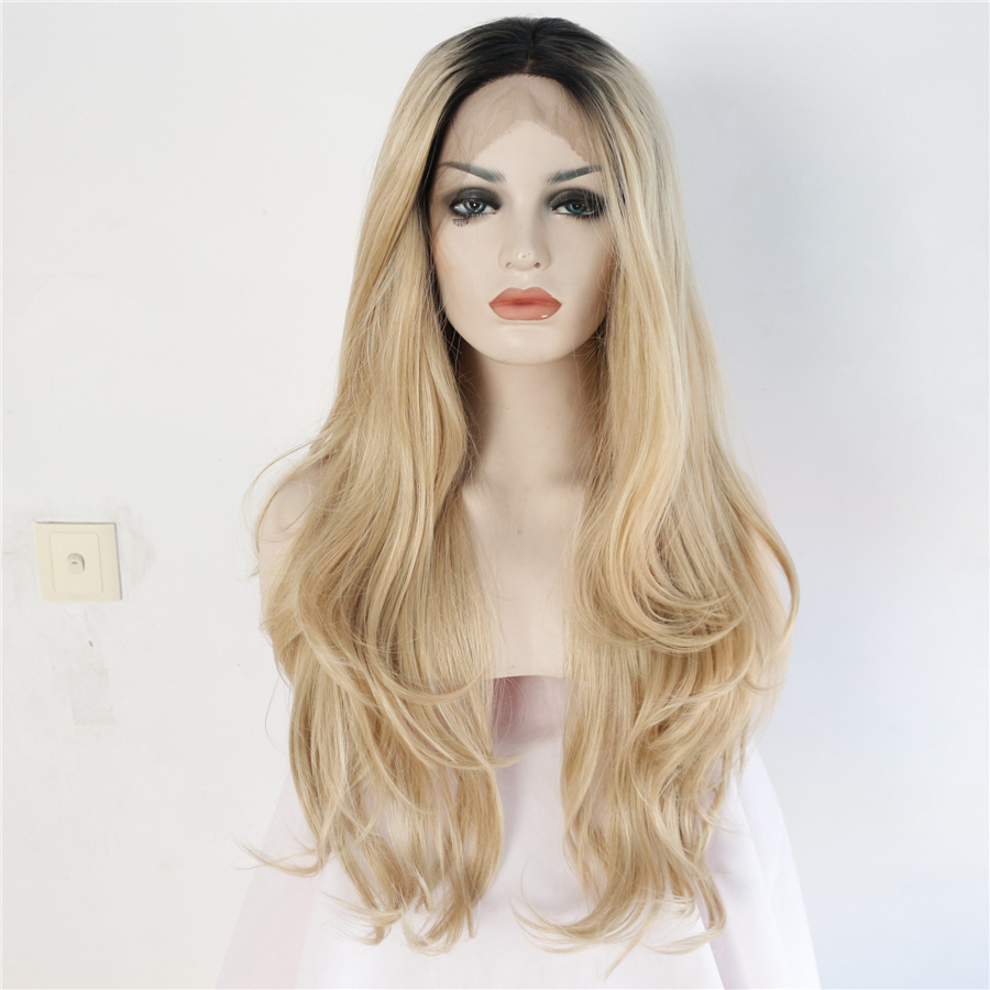 Synthetic Lace Front Wig Heat Resistant Fiber Black Root