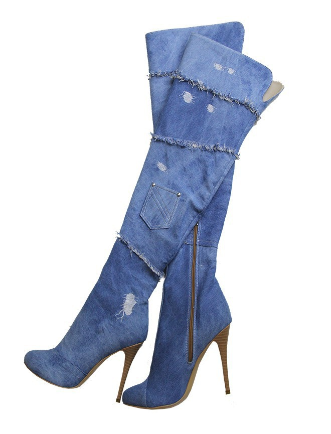 European Style Blue Denim Pleated Thin High Heel Long Boots Patchwork Knee-Hgh Pointed Toe Zipper Decoration THin High Heel юбка женская neurotica pleated blue