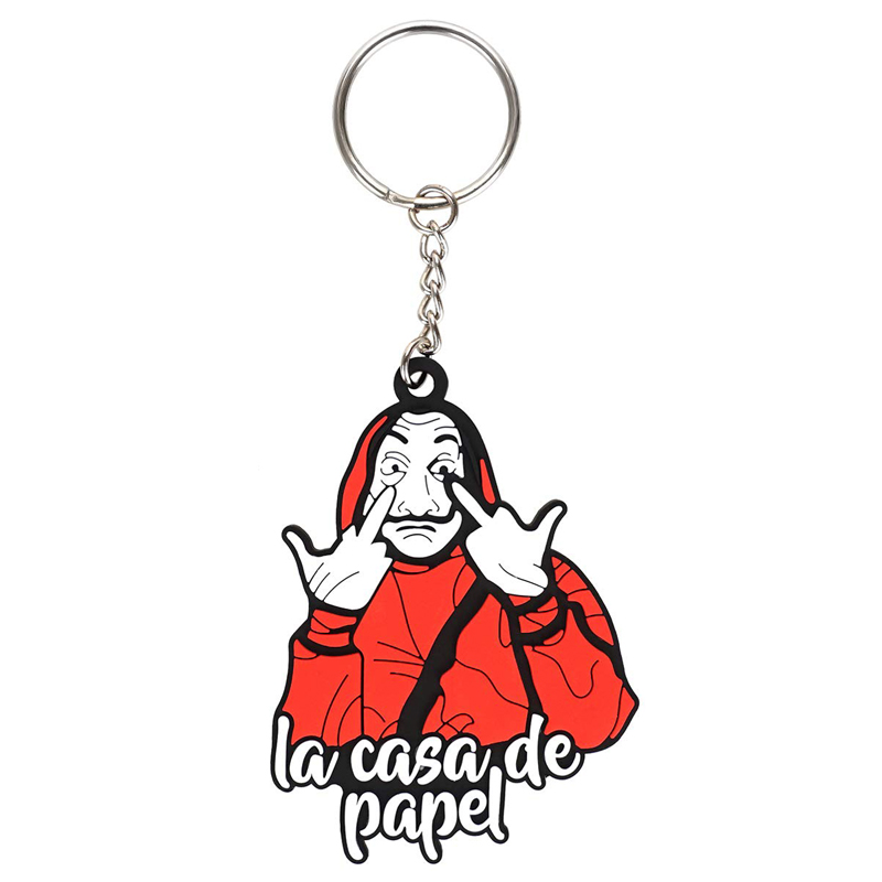 The House of Paper Salvador Dali Keychain La Casa De Papel Key Chains Holder Ring keyring high quality
