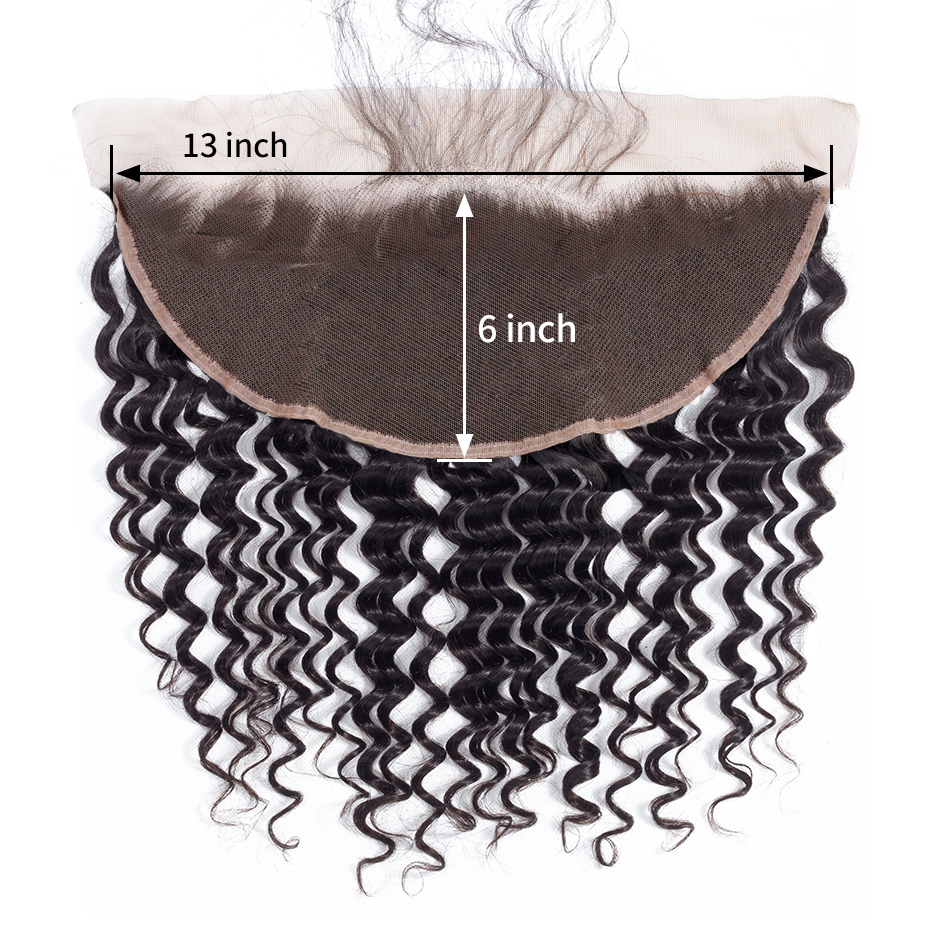 Gabrielle Hairline Hair-Extensions Frontal Human-Hair Deep-Wave Pre-Plucked Remy 13x6