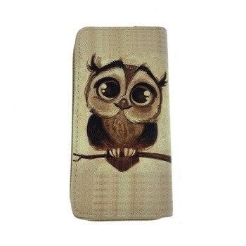 NIBESSER Women's Clutch Wallet Case Long Purse Print Cartoon Owl Long Zipper Purse For Girls Phone Bag Kawaii Card Holder