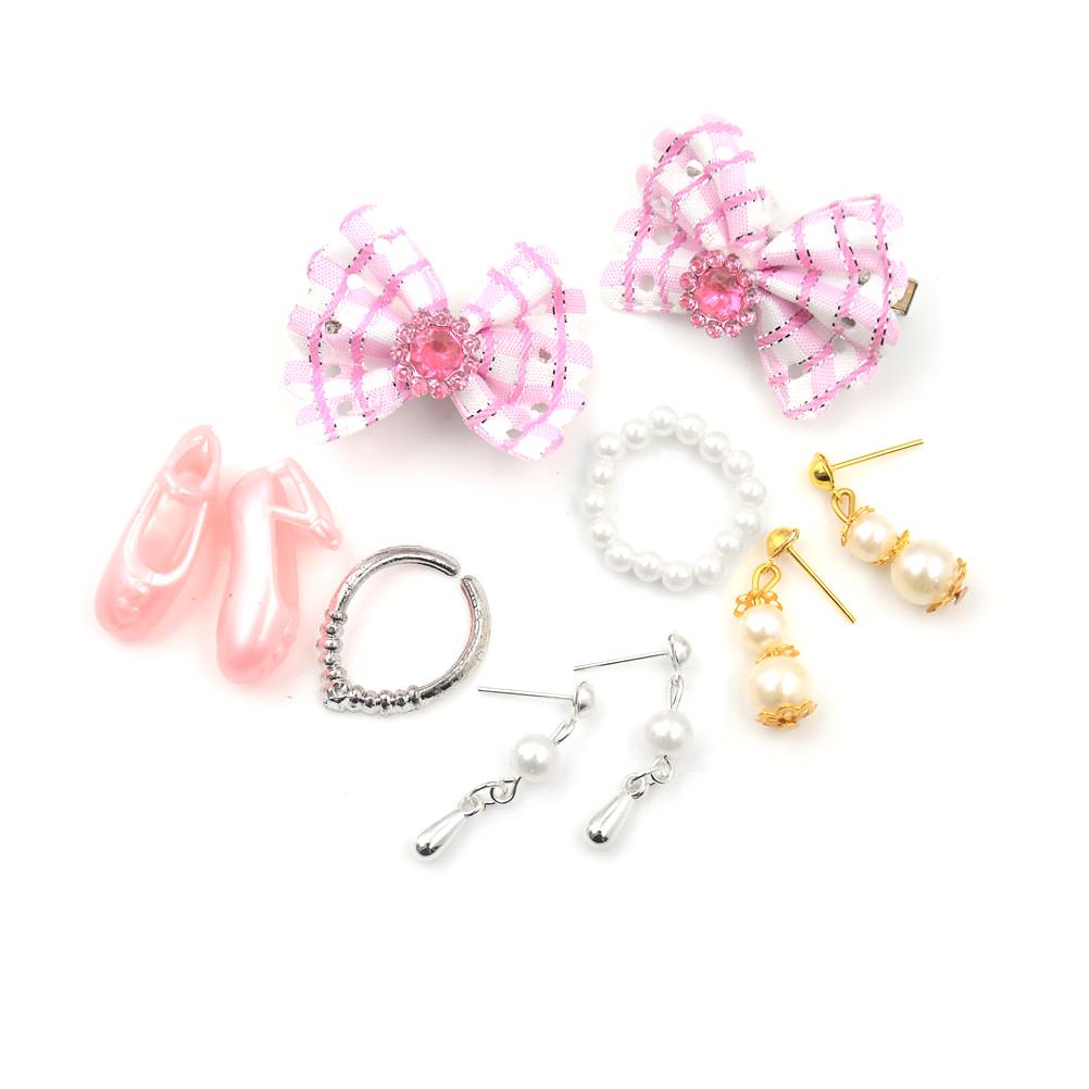 Doll Set Of Fashion Jewelry Necklace Earring Bowknot For Dolls Party Accessories For  Kids Gift