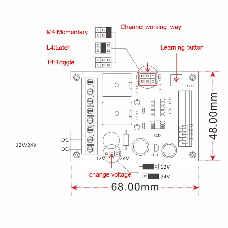 DC 24V 12V Two Way Function 2CH Relay Remote Control Switch Learning ...