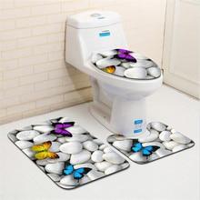 3 шт Ванна коврики пляжные серии Нескользящие Набор ковриков для ванной 3D ковер Ванная комната туалет коврик моющийся Набор ковриков для ванной