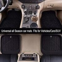 Car Pass Car Floor Mats Universal Black Gray Front Rear Floor Mats Fit Driver Passenger Seat