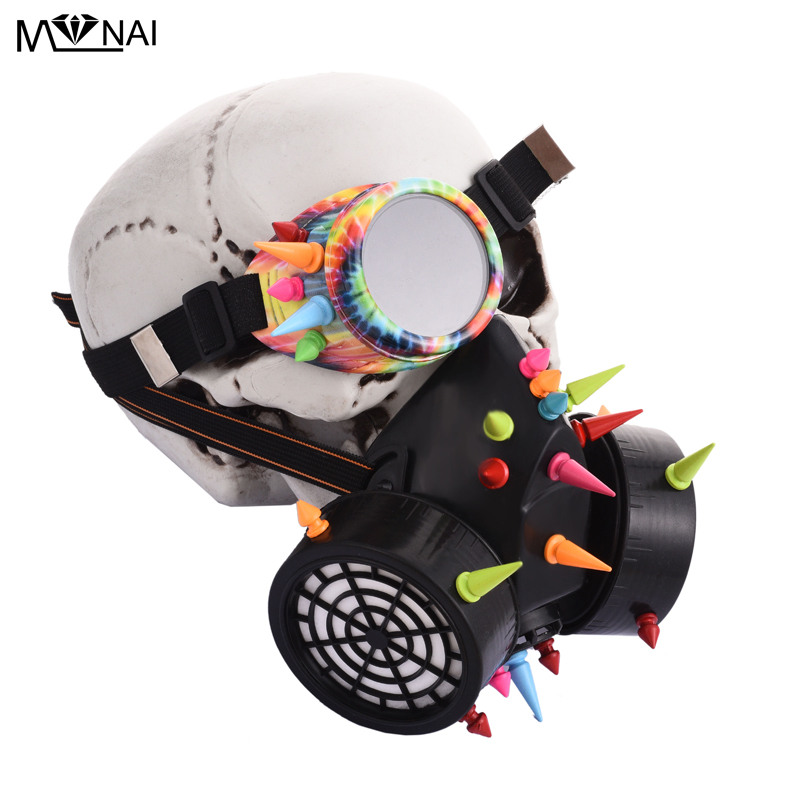 Black Burning Man Goggles Face Dust Gas Mask Steampunk Costumes Rivets Glasses Spikes Mask Party Halloween Accessories