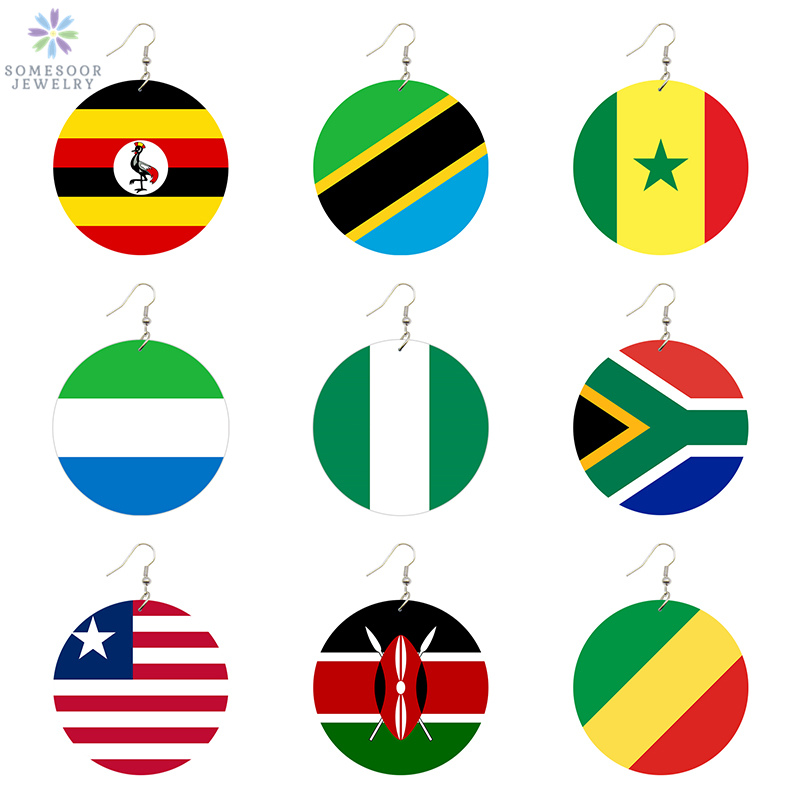 SOMESOOR Trendy Printed National Flags Wood Drop Earrings Africa America Europe Country Photos Jewelry For Women Gifts