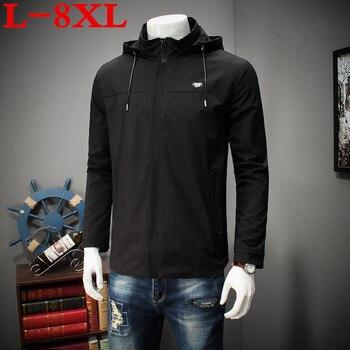 2018 new spring big plus size 10XL 9XL  8XL 7XL 6XL 5XL Brand Jacket  Men Clothes Trend  Fit  Casual  Mens Detachable hat Jacket