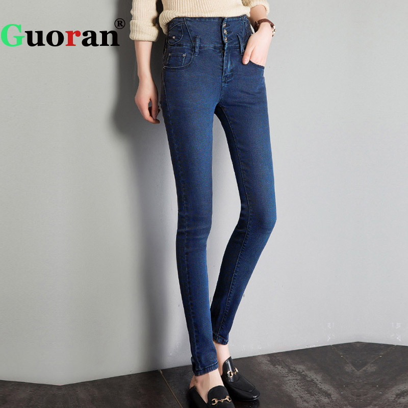 {Guoran} High Waist Women Jeans pants 2017 Skinny Slim Femme Jeans Trousers Leggings Denim Blue Black Plus Size Rivet Pantalon fashion jeans femme women pencil pants high waist jeans sexy slim elastic skinny pants trousers fit lady jeans plus size denim