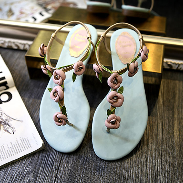 2018 comfort sandals women Summer Classic zapatos mujer Fashion flower leaves rhinestone women's shoes flat heel flip-flop simple style women s sandals with flat heel and flip flop design