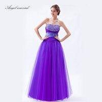Angel married purple Evening Dresses elegant prom gowns crystal tulle long women formal party dress vestido de festa