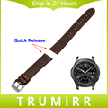 22mm Quick Release Watchband Genuine Leather Strap for Samsung Gear S3 Classic / Frontier Watch Band Wrist Belt Bracelet Brown