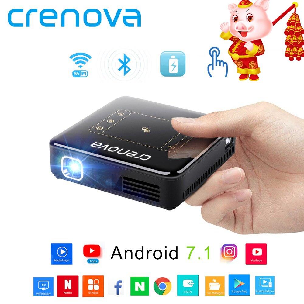 CRENOVA Date projecteur dlp Pour Full HD 4 K Avec Android 7.1 Bluetooth 4.0 mini projecteur Pour Home Cinéma 300 pouces Beamer