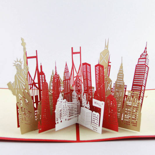 Cubic life 3D stereo New York City silhouette America Travel three-dimensional paper cards postcards image