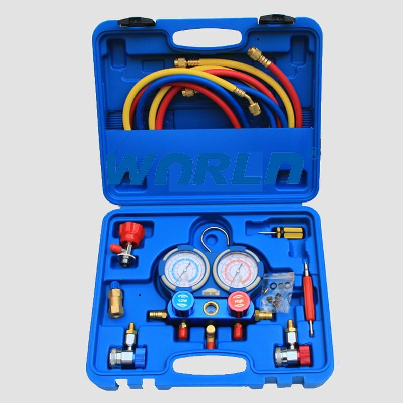 R134a Diagnostic manifold valve a/c Tester HVAC High Low Pressure Gauge Refrigerant Manifold Gauge Digital Dual Table Valve  цены