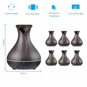 Image 2 - Vase Shape Essential Oil Diffuser 500ML Air Humidifier Wood Grain 7 Color LED Light Ultrasonic Cool Mist Maker Aroma Diffuser
