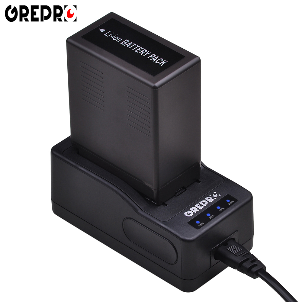 GREPRO LED Ultra Fast Battery Charger for Panasonic VW-VBG6 VBG260 AC160A,AC7,AC130A,AG-AC160A,AG-HMC40,AG-HMC70,HMC150,SDR-H40 replacement vbg260 7 4v 2460mah battery pack for panasonic ag hmc150 hdc dx1 more