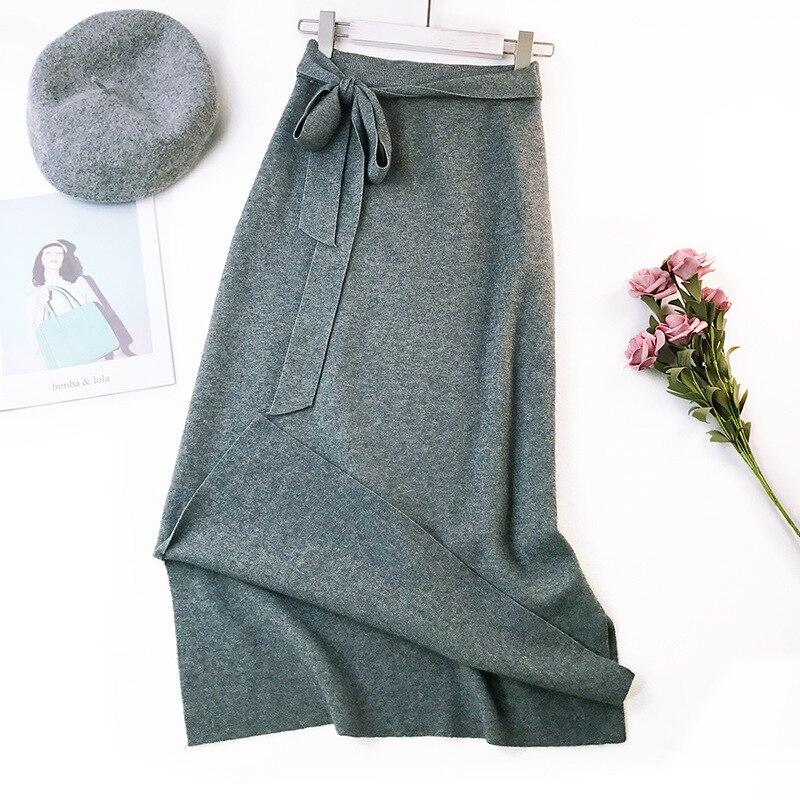 344 water velvet knit skirt women 2018 autumn and winter new women's long section high waist bag hip split A skirts 8