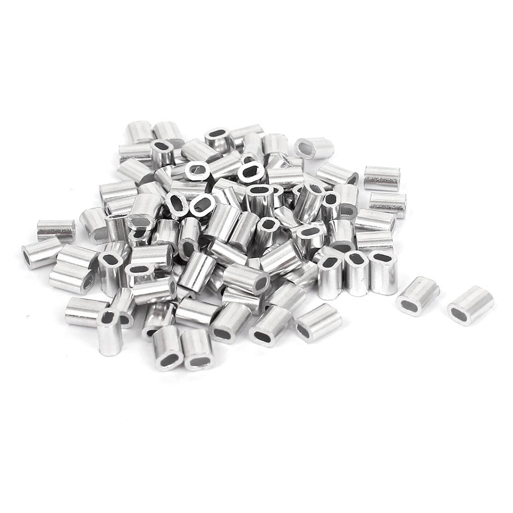 100 Pcs 1mm Steel Wire Rope Aluminum Ferrules Sleeves Silver Tone-in ...