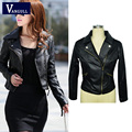 2016 Autumn Spring Short Fashion Leather Jacket Women Casual Coat Motorcycle jacket PU Leather Clothing Plus size Ladies Outwear