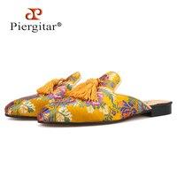 Piergitar/разноцветные жаккардовые шелковые мужские шлёпанцы золотого цвета с сочетающейся кисточка с бахрамой, мужские тапочки ручной работы,