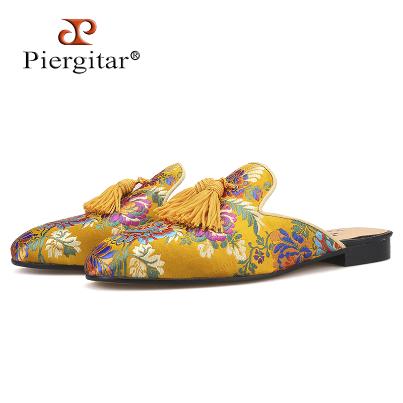 Piergitar gold-toned multi colors jacquard silk Men Mules with matching fringed tassels handcrafted mens slippers plus sizePiergitar gold-toned multi colors jacquard silk Men Mules with matching fringed tassels handcrafted mens slippers plus size