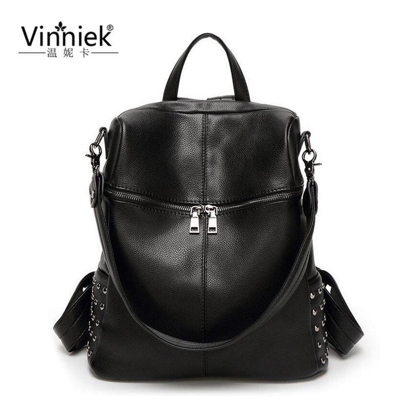 Vinniek Travel Backpack Women Luxury Brand School Bags For Teenage Girls Laptop Backpacks Fashion Shoulder Bag Soft PU Leather