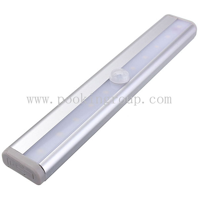 LED T-02 Stick-on Anywhere Portable 10 LED Wireless Motion Sensing Light Bar with Magnetic Strip (Battery Operated)