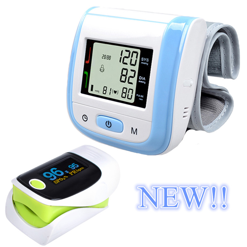 Blue LCD Digital Wrist Blood Pressure Monitor new Tonometer+OLED Display Fingertip Pulse Green Oximeter Oximetro Pulsioximetro home care laser light therapy instrument wrist watch type reduce high blood pressure