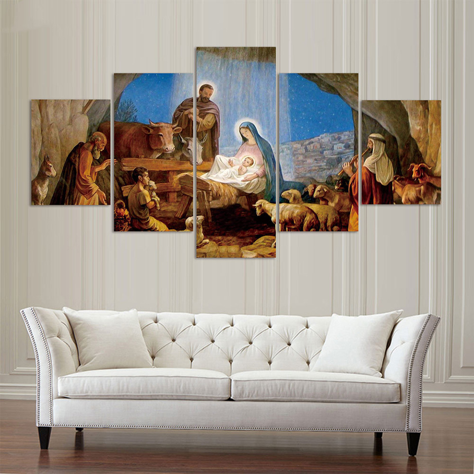 Frame Living Room Home Decor Painting Poster 5 Panel Birth Of Christian Jesus Modern Canvas