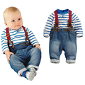 New fashion Baby boys suit blue long sleeve  stripe romper + strap jeans 2pcs set boys spring autumn casual clothing set