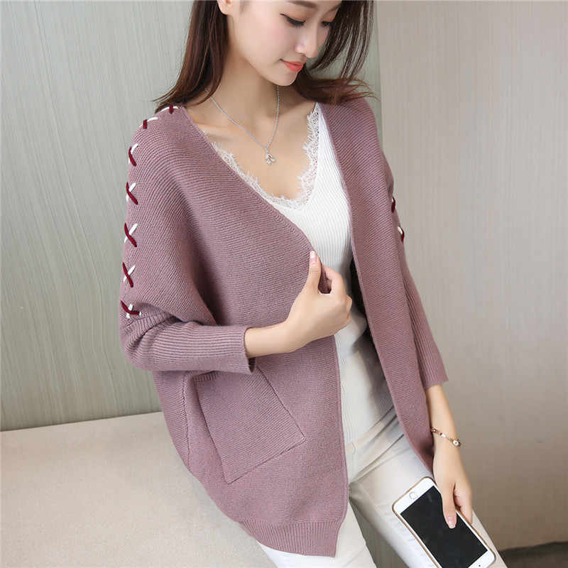 Women Batwing Sleeve Warm Knitted Cardigan Sweater 2019 New Cashmere Thick Pull Femme Lace Up Sweater Women Feminine Coat