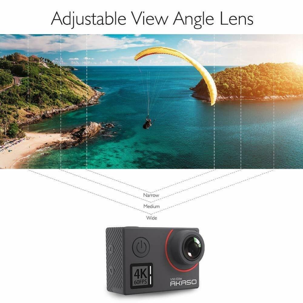 Akaso V50 Elite natif 4 K/60fps 20MP Ultra HD 4 K caméra d'action WiFi écran tactile commande vocale EIS 40 m caméra étanche - 4