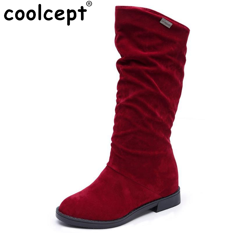 Coolcept Women Half Short Flats Boots Women Warm Shoes For Autumn Winter Boots Mid Calf Short Botas Women Footwears Size 35-40