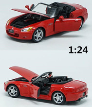 1:24 alloy pull back model car,high simulation Honda S2000,3 open the door,toy vehicles,free shipping