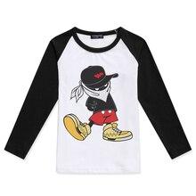 2019 Cartoon Hip Hop Printed T Shirts Children Clothing Boys Long Sleeve Girls Tshirts Cotton Masked Hipster Funny Kids T-Shirt