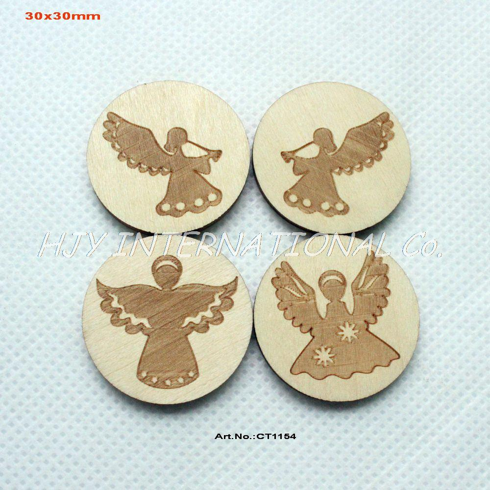 Fairy christmas ornaments -  4styles 80pcs Lot 30mm Natural Wood Christmas Ornaments Wooden Engraved Fairy Brooches