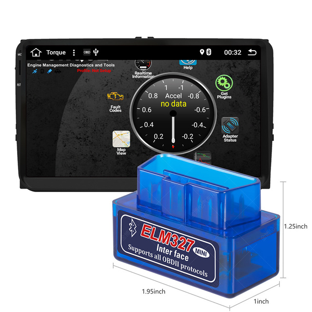 OBD For Car Android GPS Radio unit Mini Elm327 Bluetooth OBD2 Auto Code Scanner Adapter Diagnostic Tool