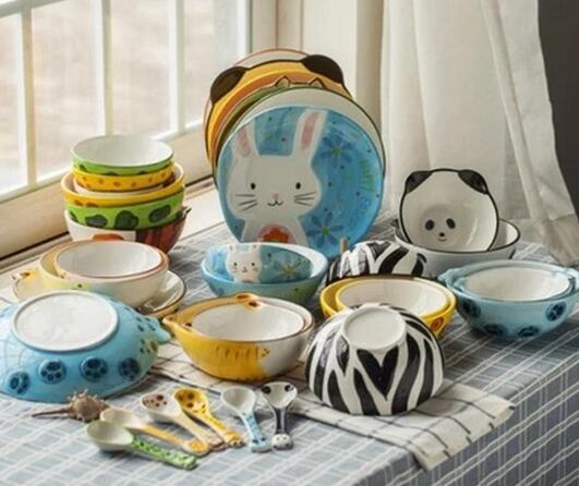 Bowl Spoon Dish Food 4PCS SET Cartoon Flatware Fruits Rice Salad Pottery Ceramic Bowl Soup Tableware