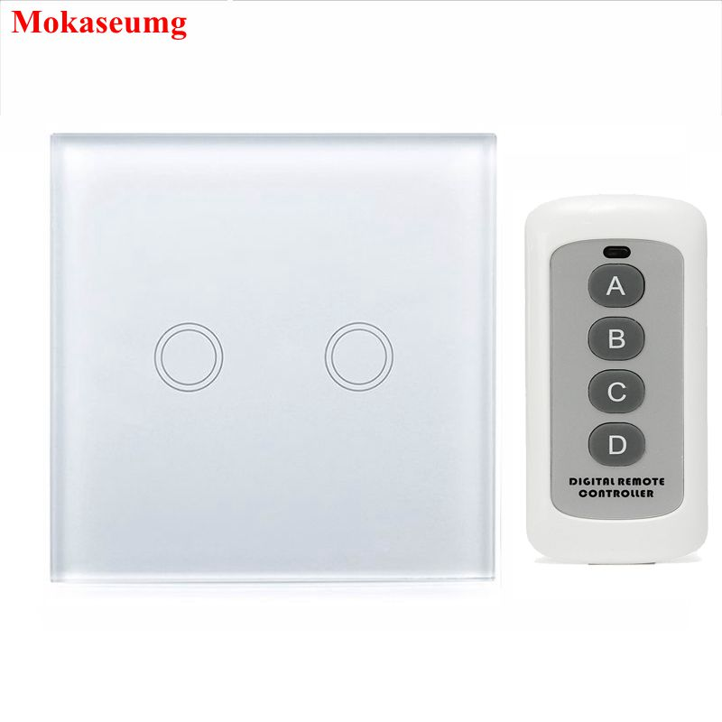2 Gang 1 way Remote Switch 433mhz, White Crystal Glass Switch Panel, EU Wall Touch Remote Switch Smart Switch 2 Gang 1 way 220V smart home eu touch switch wireless remote control wall touch switch 3 gang 1 way white crystal glass panel waterproof power