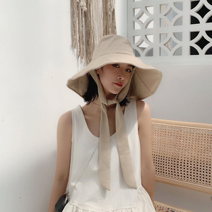 Image 2 - [EAM] 2020 New Spring Summer Round Dome Bandage Bow Big Foldable Temperament Fishermen Hat Women Fashion Tide All match JS719