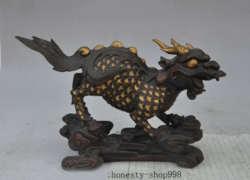 Chinese Bronze Carving Successful Dragon Horse On Ball Beast Statue