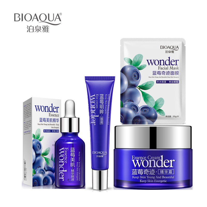 4Pcs/Lot BIOAQUA Miracle Blueberry Beauty Set Hydrating Essence Face Cream +Eye cream+3*Face Mask+ Essence Skin Care Set