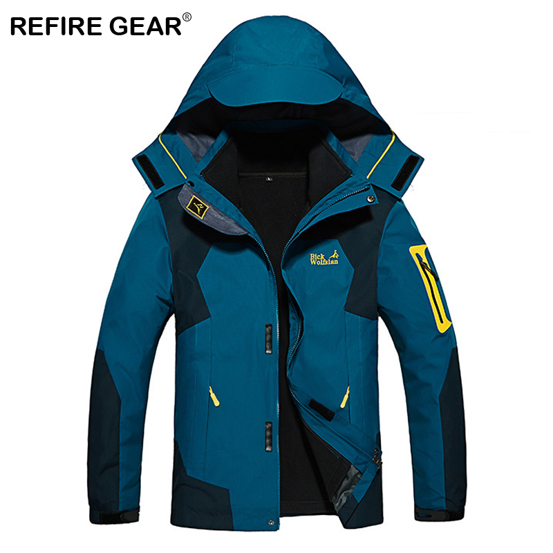 ReFire Gear Winter Thermal Waterproof Hiking Jacket Men Camping Fishing Sport Outerwear Traveling Skiing Windbreaker Jacket Coat refire gear winter thicken thermal outdoor windbreaker jacket women hiking climbing sport jacket female soft shell camping coats