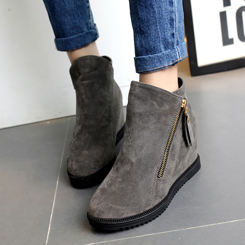 Snow boots height increasing flock winter boots short plush warm ankle boots rubber round toe zip sapatos mulher size 35-40