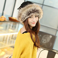 High quality fashion cashmere fur hat scarf and warm dual-purpose autumn winter thick knitted fashionista mongolia cap