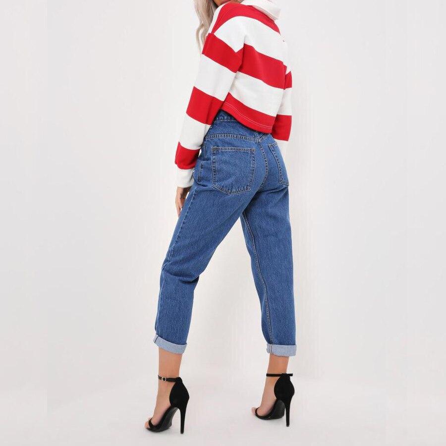 ec399e9292 Novio agujero rasgado jeans mujeres pantalones vaqueros frescos vintage  jeans rectos para chica media cintura casual